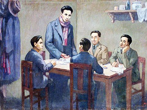 180319Hội nghị thành lập Đảng Cộng sản Việt Nam ngày 3-2-1930. Ảnh chụp lại tranh của họa sĩ Phi Hoanh tại Bảo tàng Lịch sử Quốc gia